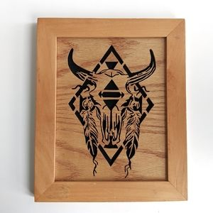 Boho Wood Wall Art Cow Skull and Feathers 13x11